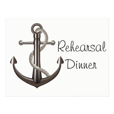Beach Themed Nautical Rehearsal  Dinner Ship Anchor Wedding Postcard