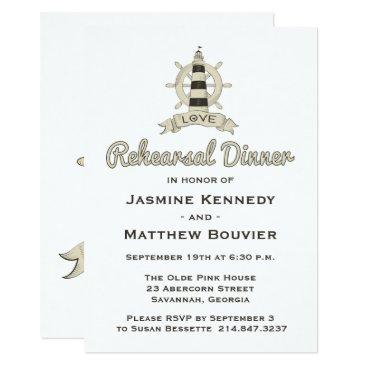 Beach Themed Nautical Rehearsal Dinner Tan Lighthouse Sailor Card