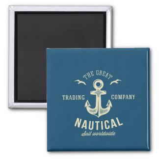 Nautical Retro Logo 2 Inch Square Magnet