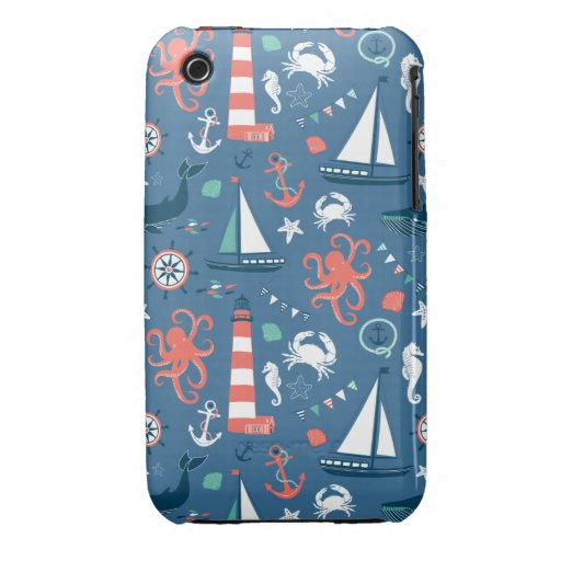 Nautical retro sailor girly pattern with anchors Case-Mate iPhone 3 case