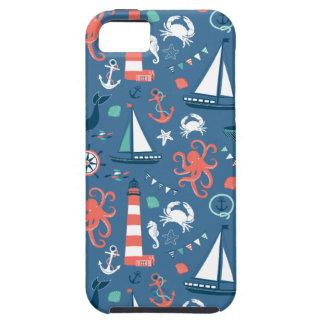 Nautical retro sailor girly pattern with anchors iPhone 5 cases