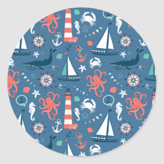Nautical retro sailor girly pattern with anchors classic round sticker