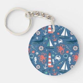 Nautical retro sailor girly pattern with anchors keychain