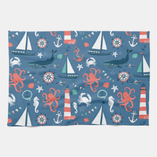 Nautical retro sailor girly pattern with anchors kitchen towel