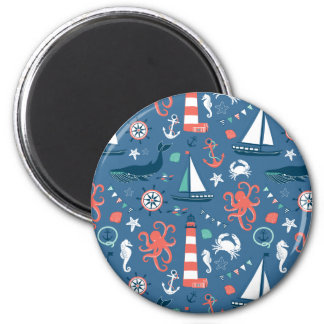Nautical retro sailor girly pattern with anchors fridge magnets