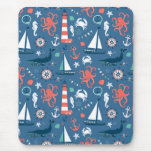 Nautical retro sailor girly pattern with anchors mouse pad