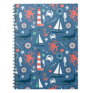 Nautical retro sailor girly pattern with anchors notebooks