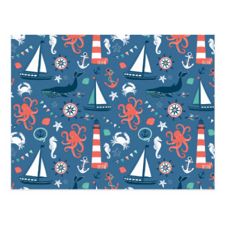 Nautical retro sailor girly pattern with anchors postcard