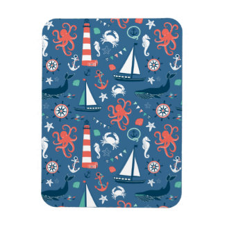 Nautical retro sailor girly pattern with anchors rectangular magnet