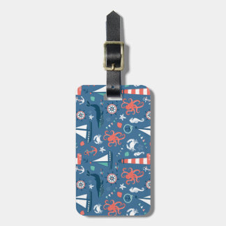 Nautical retro sailor girly pattern with anchors travel bag tag