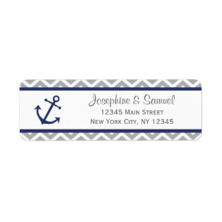 Nautical Return Address Labels Chevron Blue