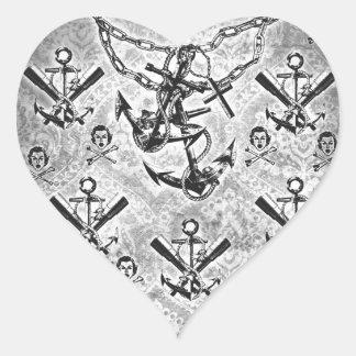Nautical rockabilly girl and crossbones pattern. heart sticker