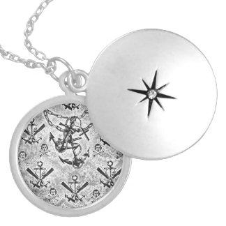 Nautical rockabilly girl and crossbones pattern. locket necklace