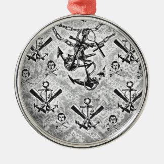 Nautical rockabilly girl and crossbones pattern. metal ornament