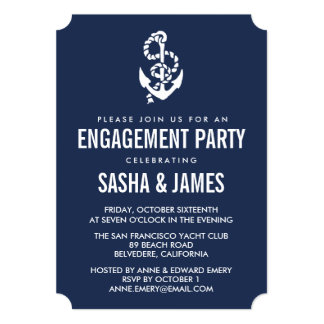 Nautical Rope & Anchor Engagement Party Invitation