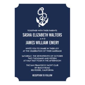 Nautical Rope & Anchor Navy Wedding Invitations