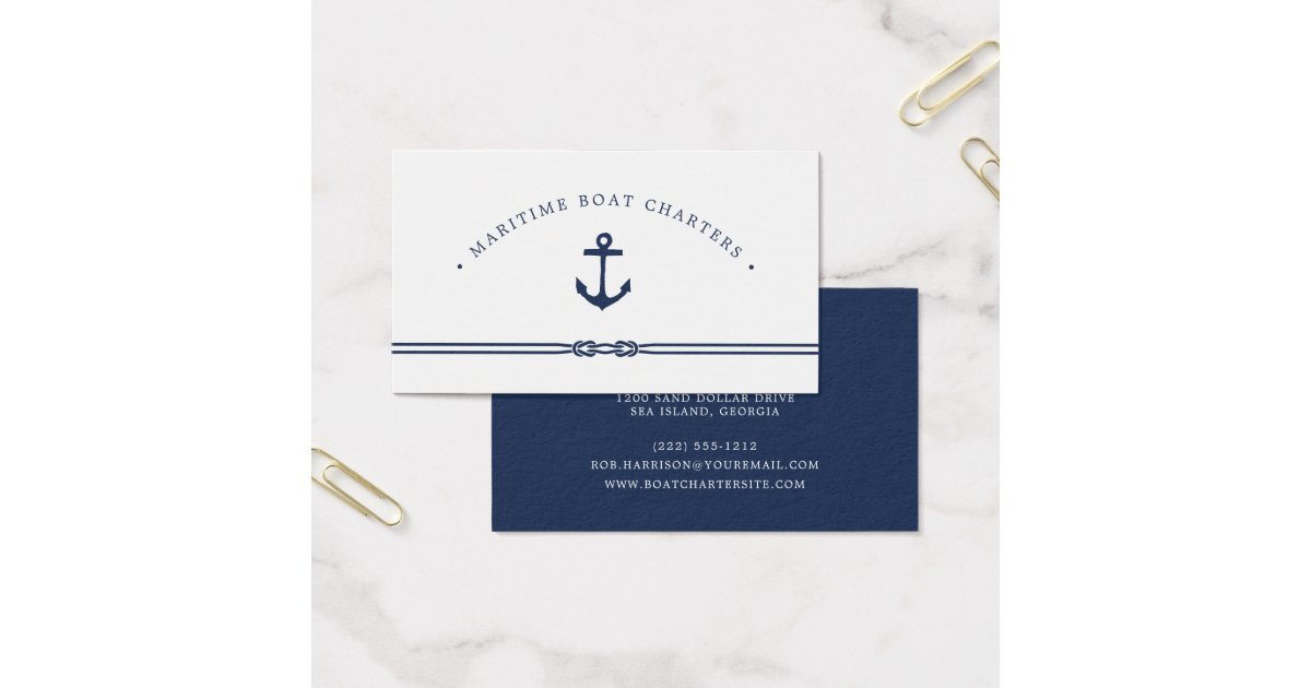 Nautical Rope and Anchor Business Card | Zazzle.com