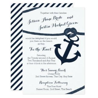 Nautical Rope and Anchor Dark Navy Wedding Card