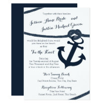 Nautical Rope and Anchor Dark Navy Wedding Invitation