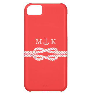 Nautical Rope and Anchor Monogram in Coral iPhone 5C Case