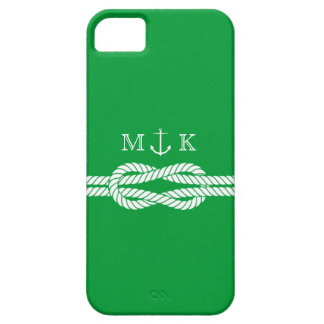 Nautical Rope and Anchor Monogram in Kelly Green iPhone SE/5/5s Case