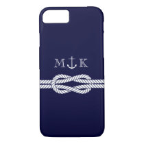 Nautical Rope and Anchor Monogram in Navy iPhone 7 Case