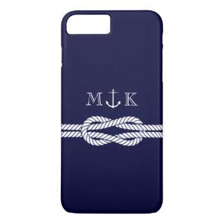 Nautical Rope and Anchor Monogram in Navy iPhone 8 Plus/7 Plus Case