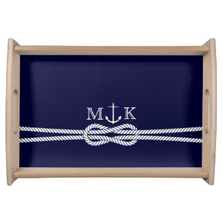 Nautical Rope and Anchor Monogram in Navy Serving Trays