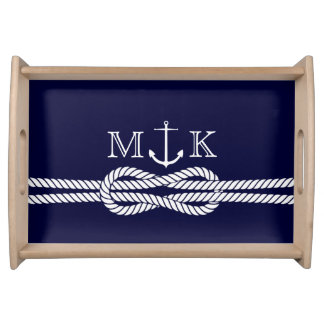Nautical Rope and Anchor Monogram in Navy Service Tray