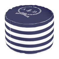 Nautical Rope and Anchor Monogram Pouf