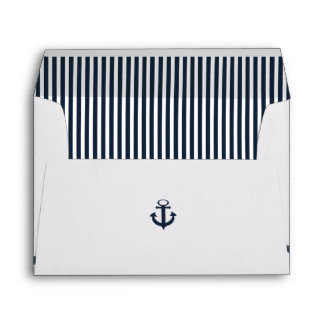 Nautical Rope and Anchor Navy Blue Envelope