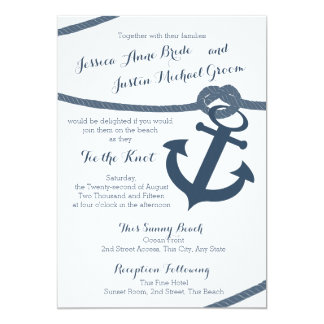 Nautical Rope and Anchor Wedding 5x7 Paper Invitation Card