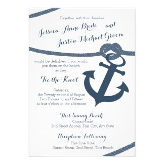 Nautical Rope and Anchor Wedding Personalized Invite