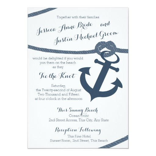 Nautical Rope and Anchor Wedding Invitation