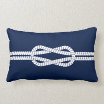 Nautical Rope, Blue and White, Sailing Lumbar Pillow