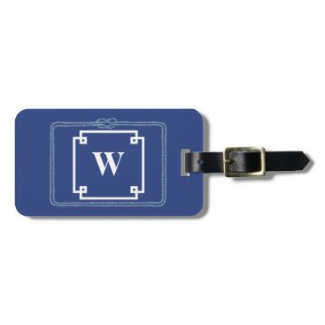 Beach Themed Nautical Rope Blue and White Smart Monogram Bag Tag