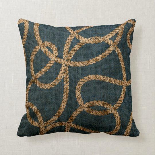 Deep Blue Throw Pillows : Nautical Rope Deep Sea Blue Throw Pillow Zazzle