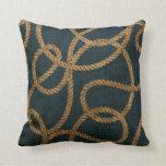 Nautical Rope Deep Sea Blue Throw Pillow