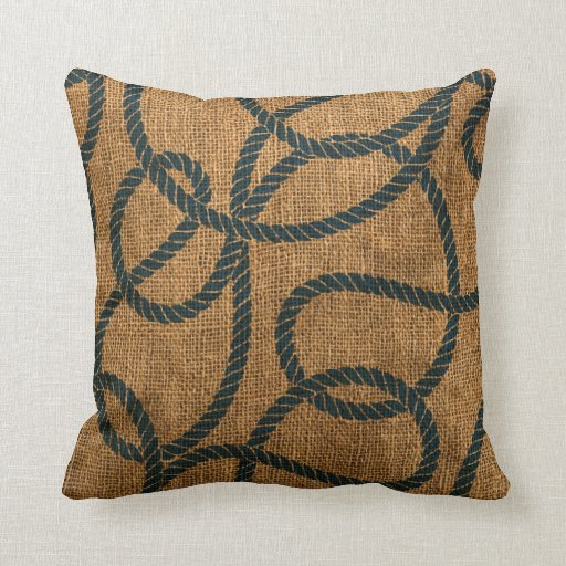 Deep Blue Throw Pillows : Nautical Rope in Natural with Deep Sea Blue Throw Pillow Zazzle