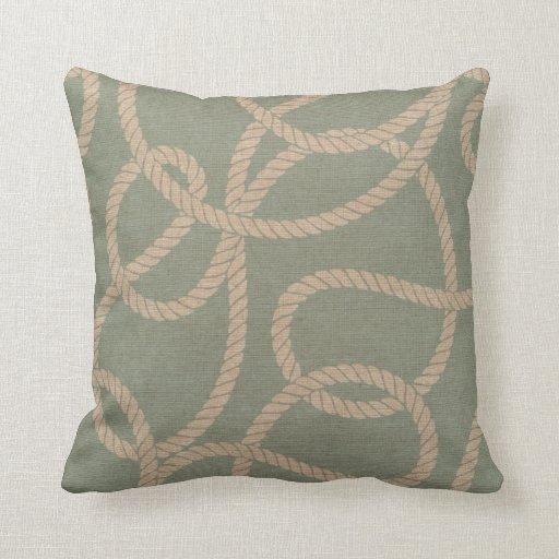 Nautical Rope in Seafoam Green Throw Pillow Zazzle