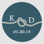 Nautical Rope Knot Blue Wedding Seal Classic Round Sticker