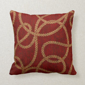 Nautical Rope Red and Natural Throw Pillow
