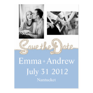 Nautical Rope Save the Date Postcard