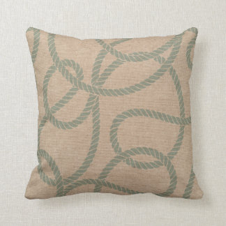 Nautical Rope Seafoam Green and Natural Pillow