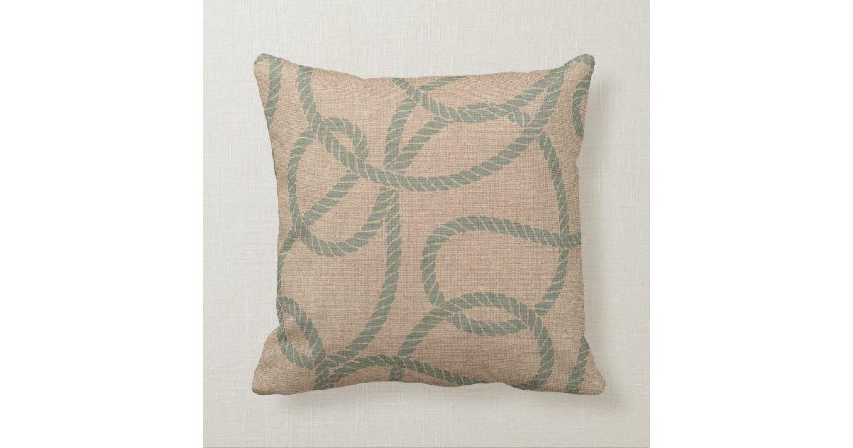 Throw Pillow Seafoam Green : Nautical Rope Seafoam Green and Natural Throw Pillow Zazzle