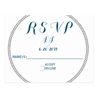 Nautical Rope Typography RSVP Cards