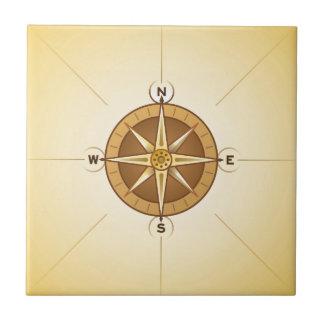 Nautical Rose Compass Ceramic Tile