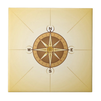 Nautical Rose Compass Small Square Tile