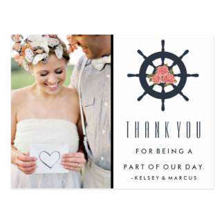 Nautical Rose Wedding Thank You Photo Postcards