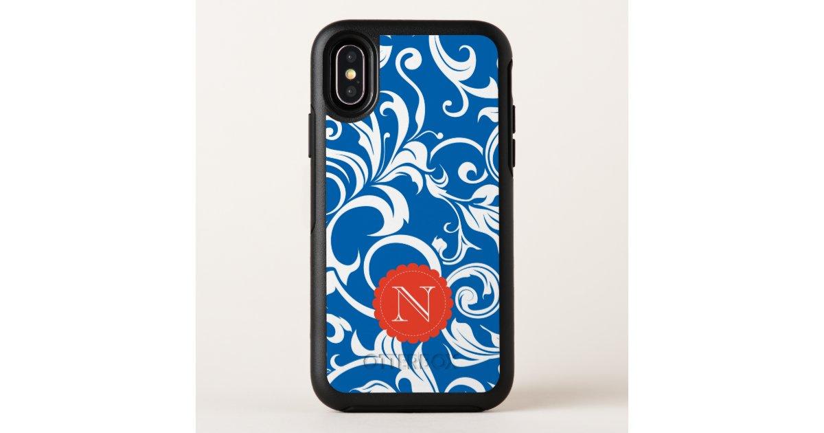 Nautical Royal Blue Red Wallpaper Swirl Monogram Otterbox Iphone Case Zazzle Com